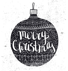Christmas ball vintage card Hand drawn vector image vector image
