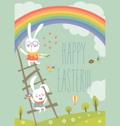 funny easter bunnies with rainbow vector image