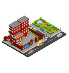 isometric street cafe concept vector image vector image