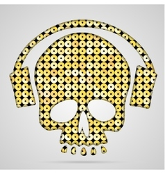 pink sequin skull with headphones vector image