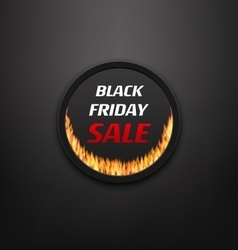 Round Frame or Web Button with Fire Flame for vector image vector image