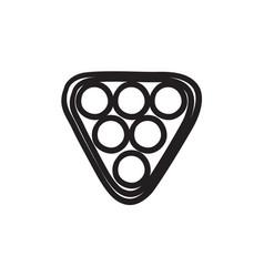 Set of billiard balls in triangle sketch icon vector