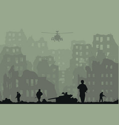 the ruined city exploded tanks h vector image