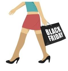 woman walking with black friday shopping bag vector image