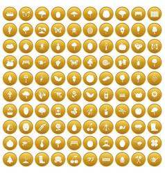 100 gardening icons set gold vector