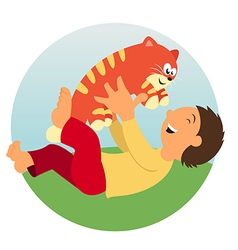 A Kid and a cat vector image