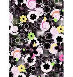 abstract girls floral on a black background vector image