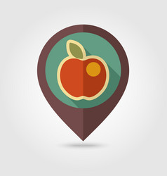 Apple flat pin map icon fruit vector