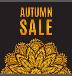 Autumn sale orange black poster with mandala vector