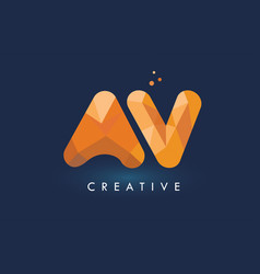 Av letter with origami triangles logo creative vector