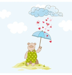 Baby bear with umbrella - shower card vector