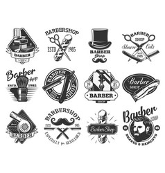 barbershop pole razor scissors retro icons vector image