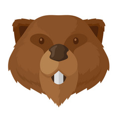 beaver brown head icon wild nature animal vector image