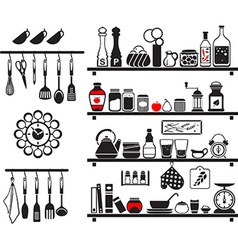 black food and drinks icons set vector image