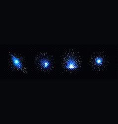 Blue sparks welding firework petard flare vector
