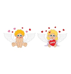 Boy and girl cupid angel characters Valentines Day vector image