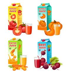Bright fresh vegetable juices set vector