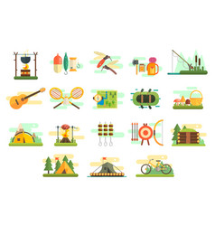 Camping icons set hiking and fishing equipment vector