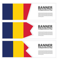 Chad flag banners collection independence day vector