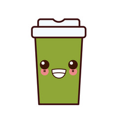 Coffee to go kawaii cartoon vector