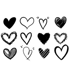 collection set doodle hearts isolated on white vector image