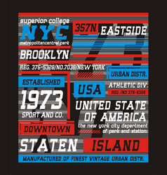 college brooklyn new york typography design vector image