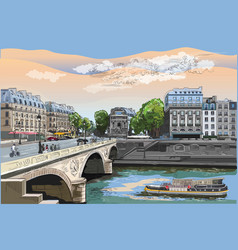 colorful hand drawing paris 7 vector image