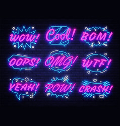 comic bubbles set in neon style expressions cool vector image