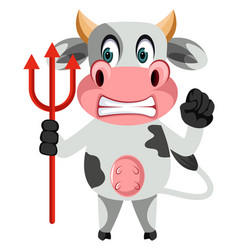 Cow with devil spear on white background vector