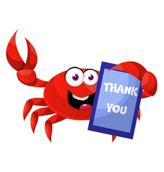 crab with thank you sign on white background vector image
