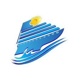 Cruise sun and waves logo vector image