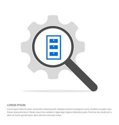 Cupboard icon search glass with gear symbol icon vector