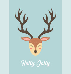 cute christmas reindeer greeting card vector image