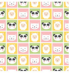 Cute seamless pattern with animals panda cat and vector