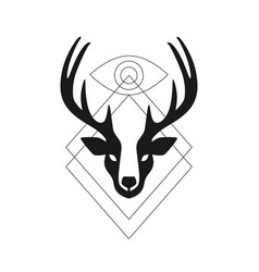 Deer head antler eye geometric logo t shirt vector