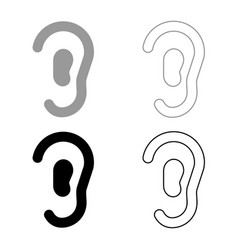 Ear icon set grey black color vector