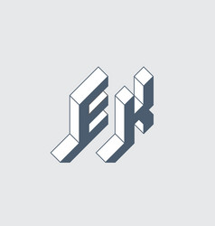 ek - 2-letter code e and k - monogram or logotype vector image