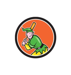 Elf baseball player batting circle cartoon vector