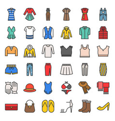 female clothes bag shoes and accessories filled vector image