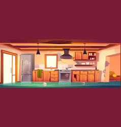 flooded rustic kitchen abandoned empty interior vector image