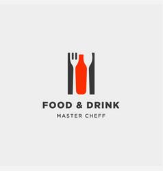 Food and drink bottle simple flat logo design vector