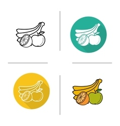 Fruits flat design linear and color icons set vector