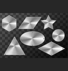 glossy metal industrial plates in different shapes vector image