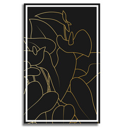Gold anthurium abstract painting in frame vector