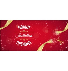Grand opening red banner with golden splashes vector