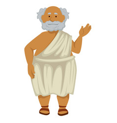 greek philosopher in robe and sandals isolated vector image