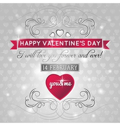 grey background with red valentine heart vector image