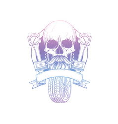 Hand drawn sketch skull with piston vector