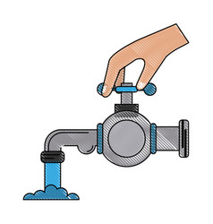 Hand with toilet pump vector