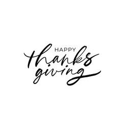happy thanksgiving modern brush calligraphy vector image